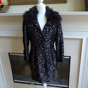 Rachel Roy Animal Print Coat Faux Fur Collar